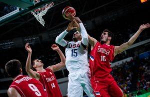 Carmelo Anthony - USA - Nikola Kalinic - Serbien - OL 2016 - FIBA.com