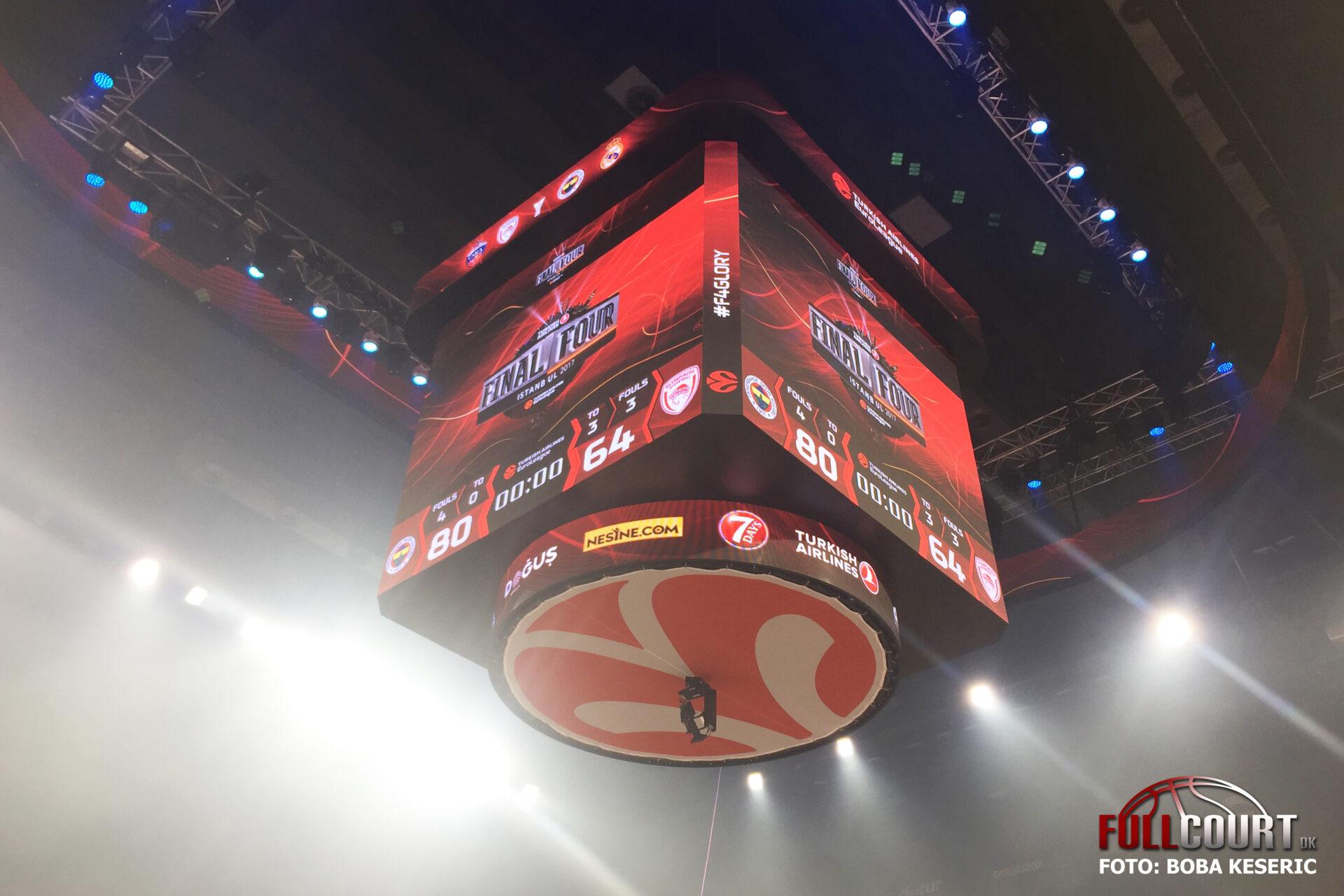 Det endelige resultat mellem Fenerbahce og Olympiacos i finalen i EuroLeague ved Final Four 2017 i Istanbul.